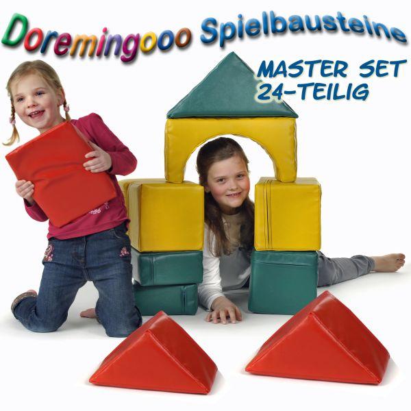 XXL Spielbausteine, hochwertige Großbausteine MASTER-Set 24 teilig, spielfertig bezogen